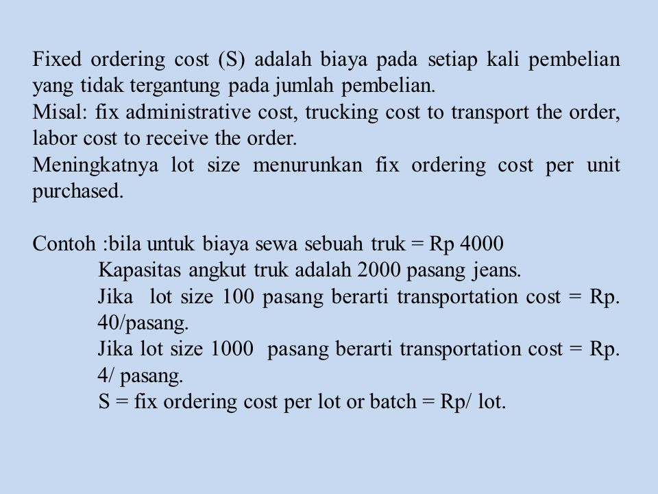 Analisis  Demand (D) = DLE22B = $12000/year, DLE19B = $1200/year, DLE19A = $120/year  common order cost (S) = $4000  product-specific order cost = $1000  holding cost (h)= 0,2  unit cost (C) = $500