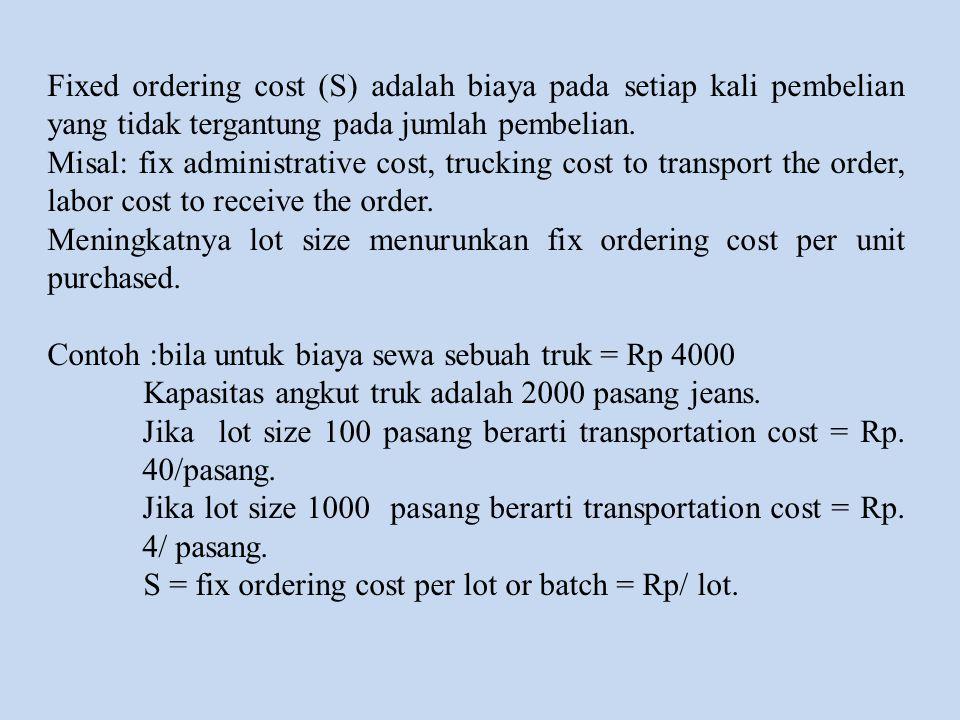 Fixed ordering cost (S) adalah biaya pada setiap kali pembelian yang tidak tergantung pada jumlah pembelian. Misal: fix administrative cost, trucking