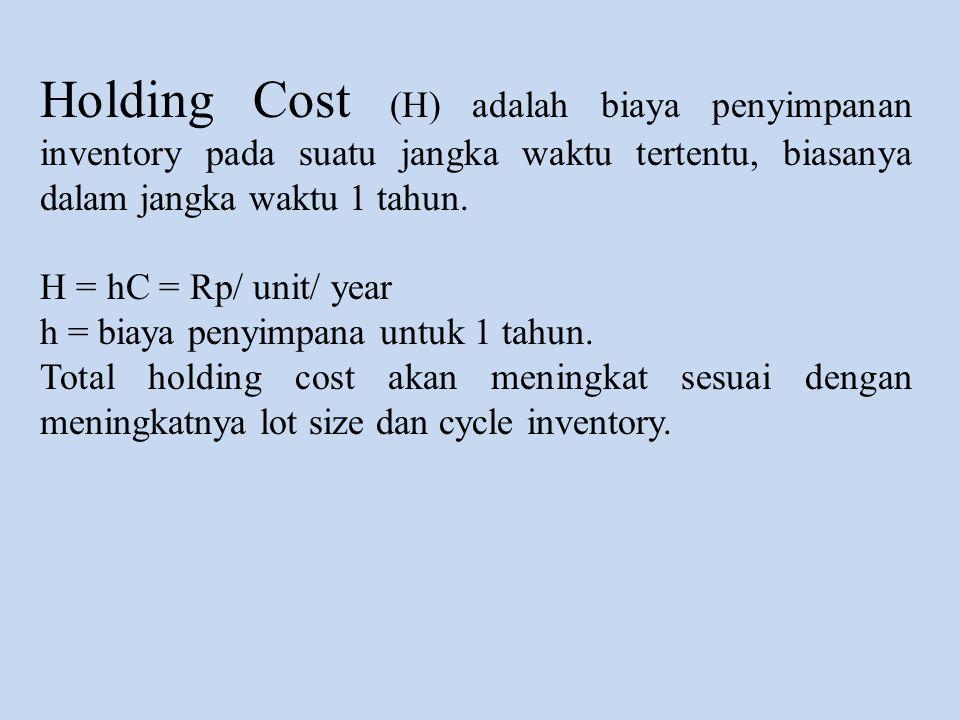 Holding Cost (H) adalah biaya penyimpanan inventory pada suatu jangka waktu tertentu, biasanya dalam jangka waktu 1 tahun. H = hC = Rp/ unit/ year h =