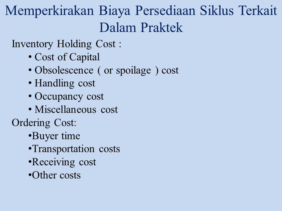 Lot Sizing untuk Single Product (Economic Order Quantity) D= manual demand of the product S = fixed cost incurred per order C = cost per unit (biaya material) h = Biaya penyimpanan 1 tahun Tiga biaya yang harus dipertimbangkan dalam memutuskan besarnya lot size: 1.