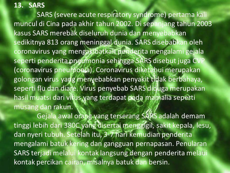 13. SARS SARS (severe acute respiratory syndrome) pertama kali muncul di Cina pada akhir tahun 2002. Di sepanjang tahun 2003 kasus SARS merebak diselu