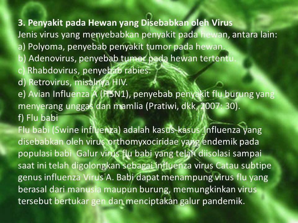 3. Penyakit pada Hewan yang Disebabkan oleh Virus Jenis virus yang menyebabkan penyakit pada hewan, antara lain: a) Polyoma, penyebab penyakit tumor p