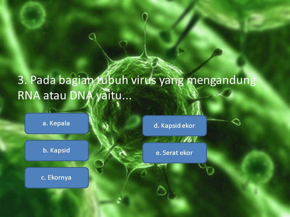 3. Pada bagian tubuh virus yang mengandung RNA atau DNA yaitu... a. Kepala b. Kapsid c. Ekornya e. Serat ekor d. Kapsid ekor