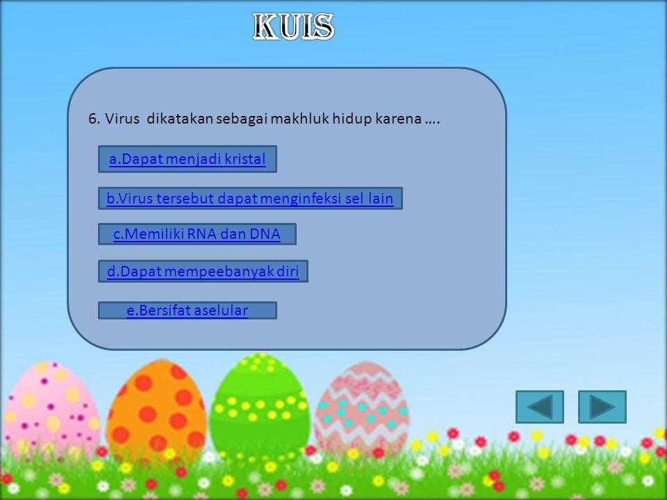 5. Pada virus, asam nukleat dibungkus oleh selaput protein yang dinamakan …. a.kapsomer b.kapsid c.heliks d.virion e.Membran lemak
