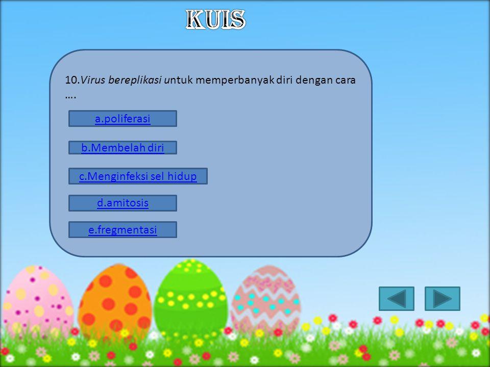 9. Pengelompokan virus antara ribovirus dan deoksiribo– virus, didasarkan atas …. b.Cara replikasinya c.Kandungan asam nukleatnya a.Daur hidupnya d.In