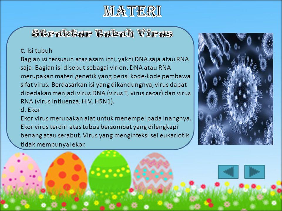 1.Kepala Kepala virus berisi DNA dan bagian luarnya diselubungi kapsid. Satu unit protein yang menyusun kapsid disebut kapsomer. 2. Kapsid Kapsid adal