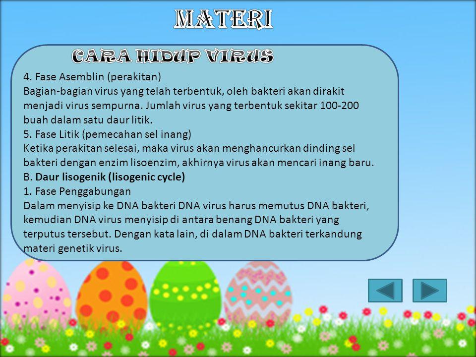 3.Replikasi virus yang diakhiri dengan matinya sel inang disebut ….