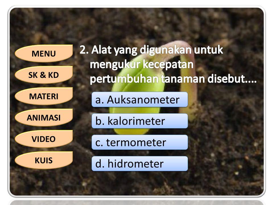 MENU SK & KD MATERI ANIMASI VIDEO KUIS a. Auksanometer b. kalorimeter c. termometer d. hidrometer