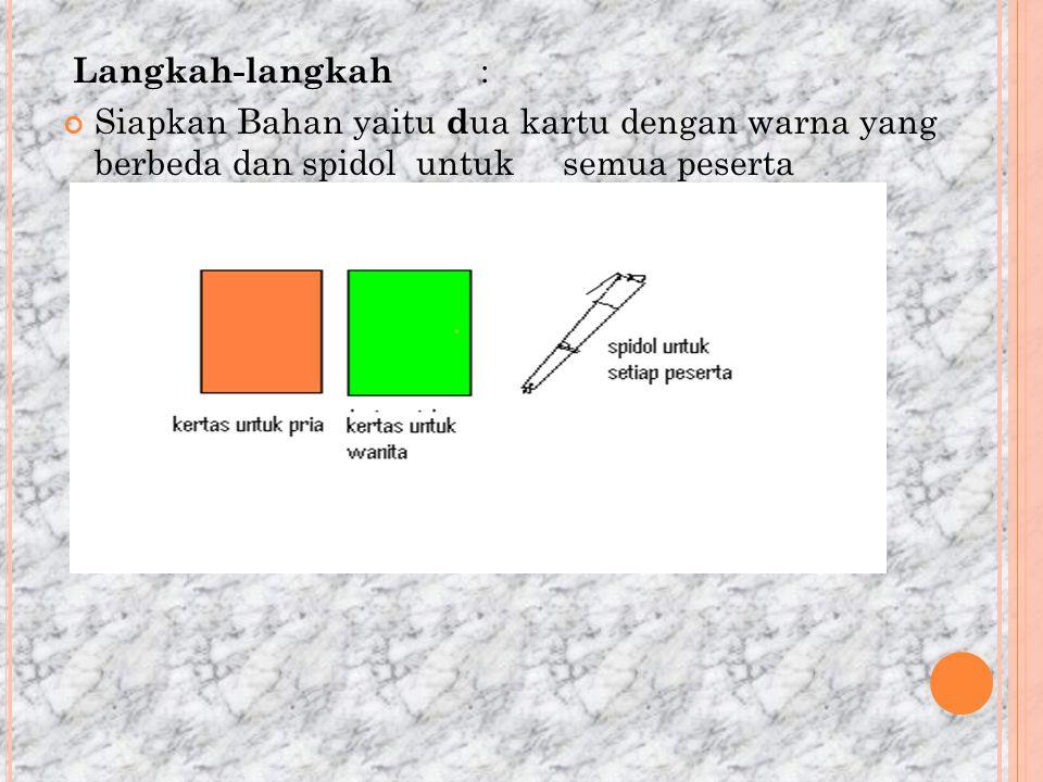 Langkah-langkah : Siapkan Bahan yaitu d ua kartu dengan warna yang berbeda dan spidol untuk semua peserta