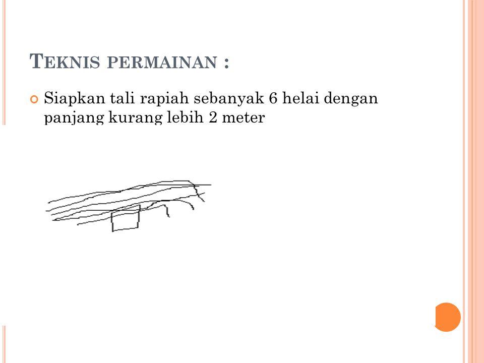 T EKNIS PERMAINAN : Siapkan tali rapiah sebanyak 6 helai dengan panjang kurang lebih 2 meter