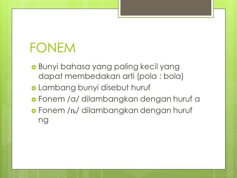 FONEM  Bunyi bahasa yang paling kecil yang dapat membedakan arti (pola : bola)  Lambang bunyi disebut huruf  Fonem /a/ dilambangkan dengan huruf a