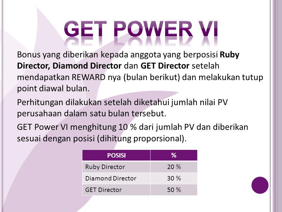 Bonus yang diberikan kepada anggota yang berposisi Ruby Director, Diamond Director dan GET Director setelah mendapatkan REWARD nya (bulan berikut) dan melakukan tutup point diawal bulan.