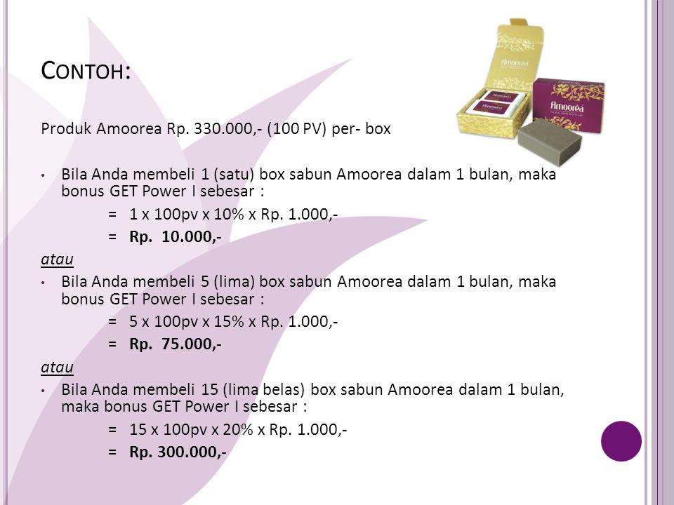 C ONTOH : A mensponsori langsung B, dan B belanja 3 (tiga) box sabun Amoorea, maka bonus GET Power II untuk A adalah = 3 x 100pv x 30% x Rp.