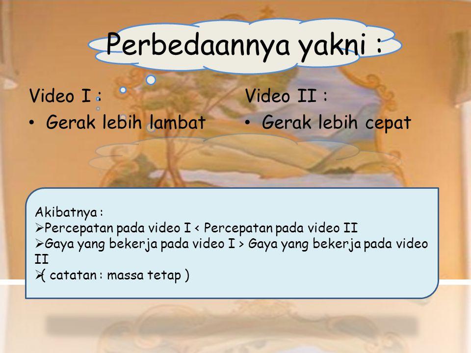 Perbedaannya yakni : Video I : •Gerak lebih lambat Video II : •Gerak lebih cepat Akibatnya :  Percepatan pada video I < Percepatan pada video II  Ga