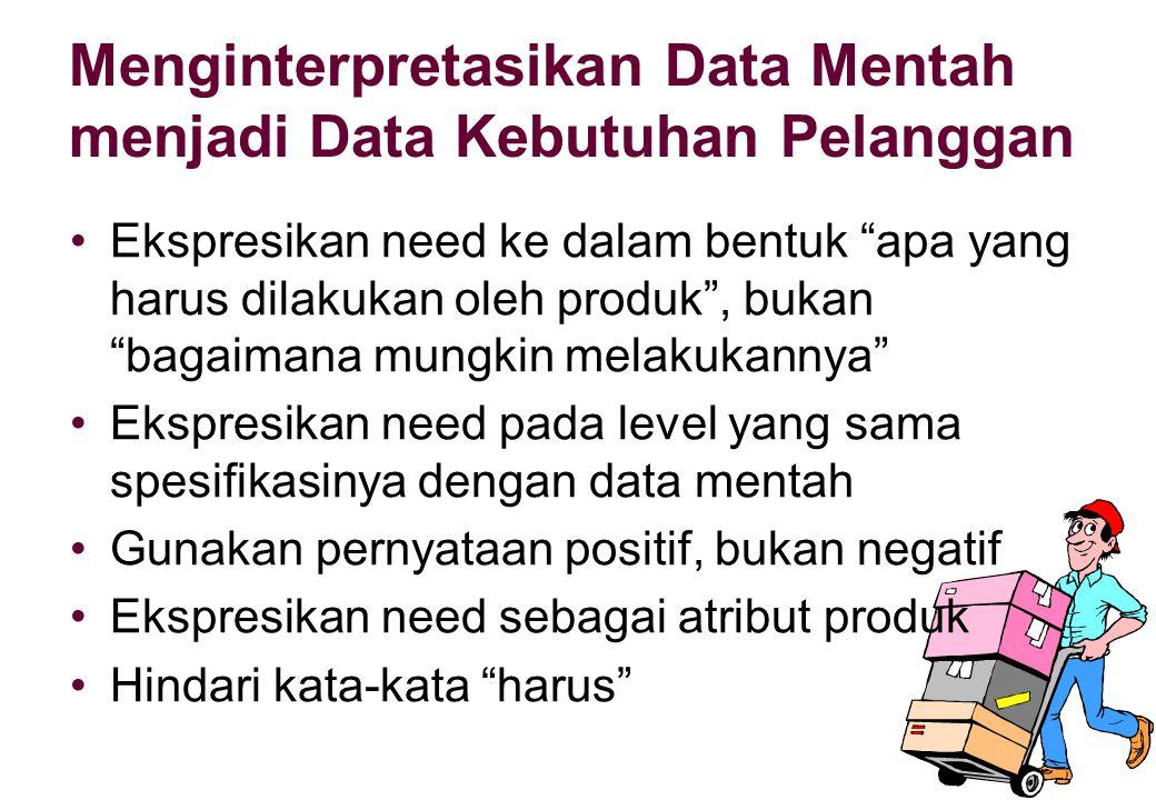 Menginterpretasikan Data Mentah menjadi Data Kebutuhan Pelanggan •E•Ekspresikan need ke dalam bentuk apa yang harus dilakukan oleh produk , bukan bagaimana mungkin melakukannya •E•Ekspresikan need pada level yang sama spesifikasinya dengan data mentah •G•Gunakan pernyataan positif, bukan negatif •E•Ekspresikan need sebagai atribut produk •H•Hindari kata-kata harus