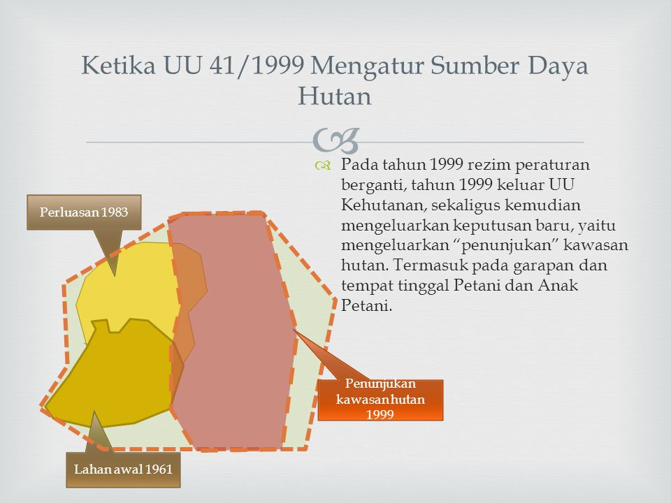  Ketika UU 41/1999 Mengatur Sumber Daya Hutan  Pada tahun 1999 rezim peraturan berganti, tahun 1999 keluar UU Kehutanan, sekaligus kemudian mengelua