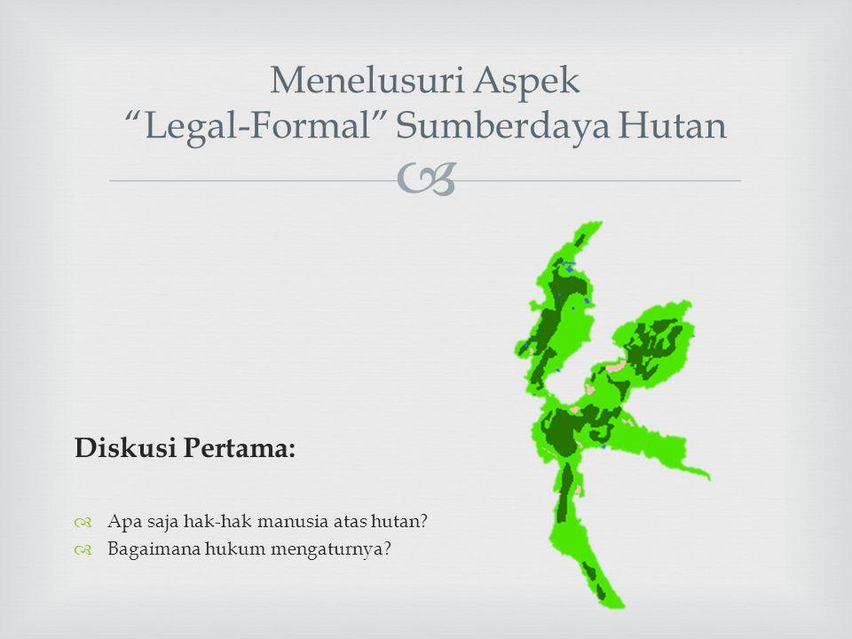 " Menelusuri Aspek ""Legal-Formal"" Sumberdaya Hutan Diskusi Pertama:  Apa saja hak-hak manusia atas hutan?  Bagaimana hukum mengaturnya?"