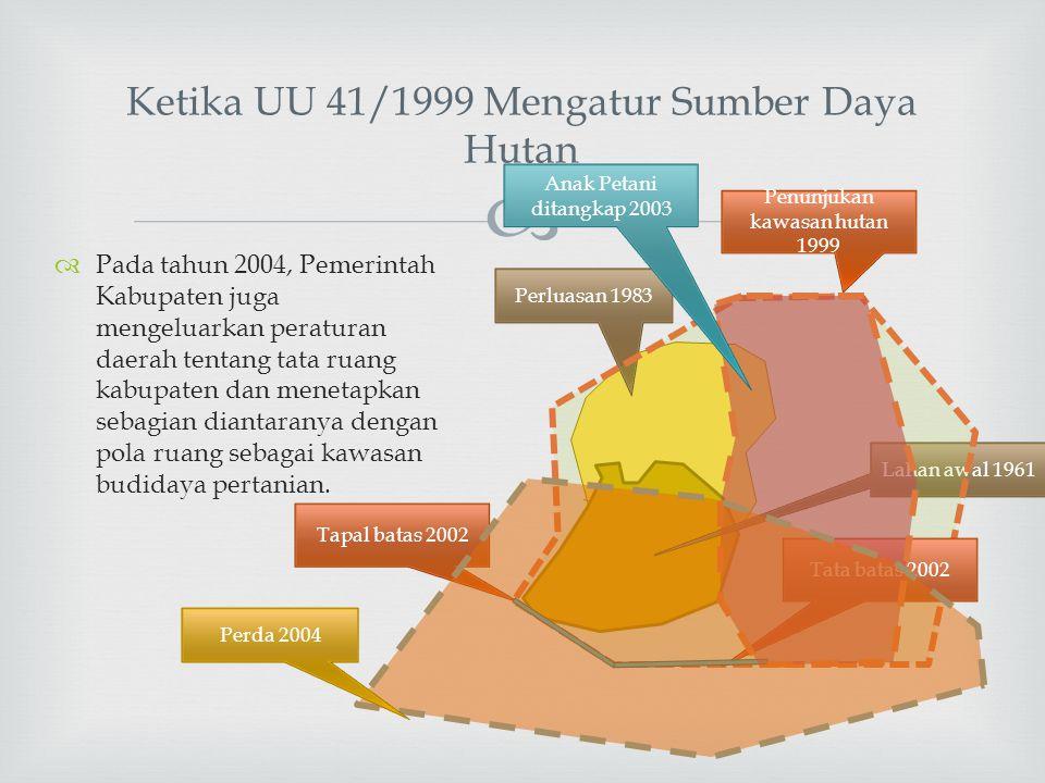  Ketika UU 41/1999 Mengatur Sumber Daya Hutan  Pada tahun 2004, Pemerintah Kabupaten juga mengeluarkan peraturan daerah tentang tata ruang kabupaten