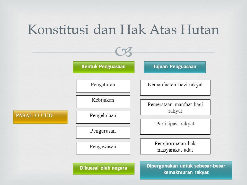  Konstitusi dan Hak Atas Hutan PASAL 33 UUD Kebijakan Pengaturan Pengelolaan Pengurusan Pengawasan Pemerataan manfaat bagi rakyat Kemanfaatan bagi ra