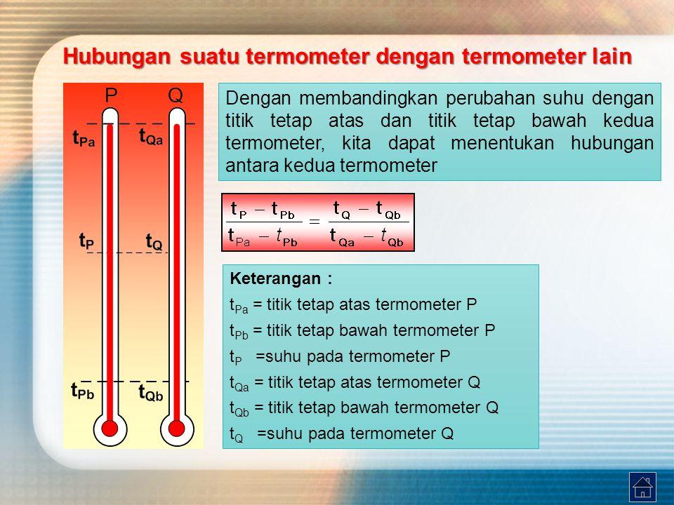 Hubungan suatu termometer dengan termometer lain Dengan membandingkan perubahan suhu dengan titik tetap atas dan titik tetap bawah kedua termometer, k