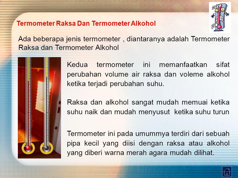 Termometer Raksa Dan Termometer Alkohol Ada beberapa jenis termometer, diantaranya adalah Termometer Raksa dan Termometer Alkohol Kedua termometer ini