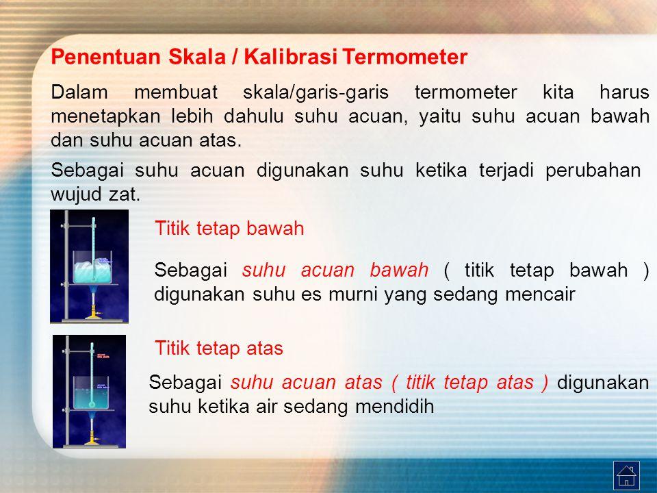 Penentuan Skala / Kalibrasi Termometer Dalam membuat skala/garis-garis termometer kita harus menetapkan lebih dahulu suhu acuan, yaitu suhu acuan bawa