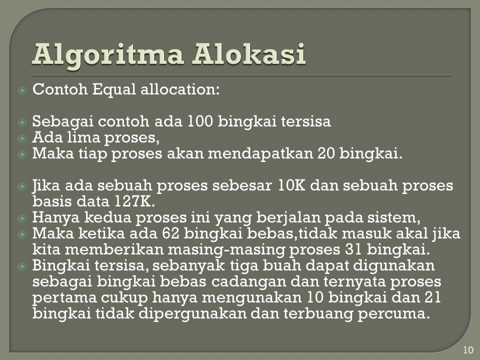  Proportional allocation: • mengunakan alokasi memori yang tersedia kepada setiap proses dengan melihat pada besarnya ukuran proses.
