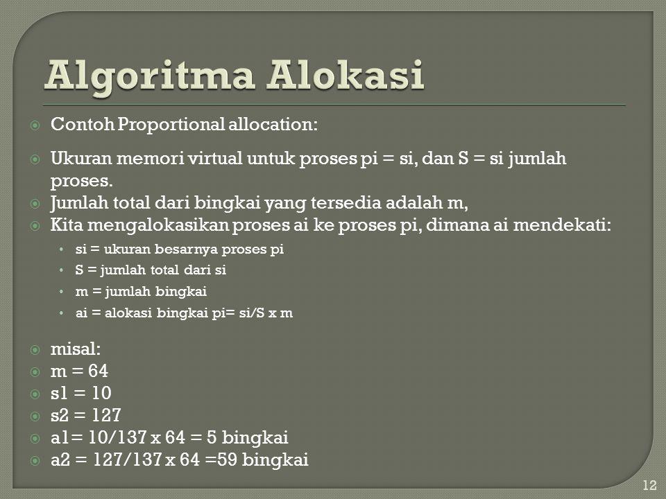  Contoh Proportional allocation:  Ukuran memori virtual untuk proses pi = si, dan S = si jumlah proses.  Jumlah total dari bingkai yang tersedia ad