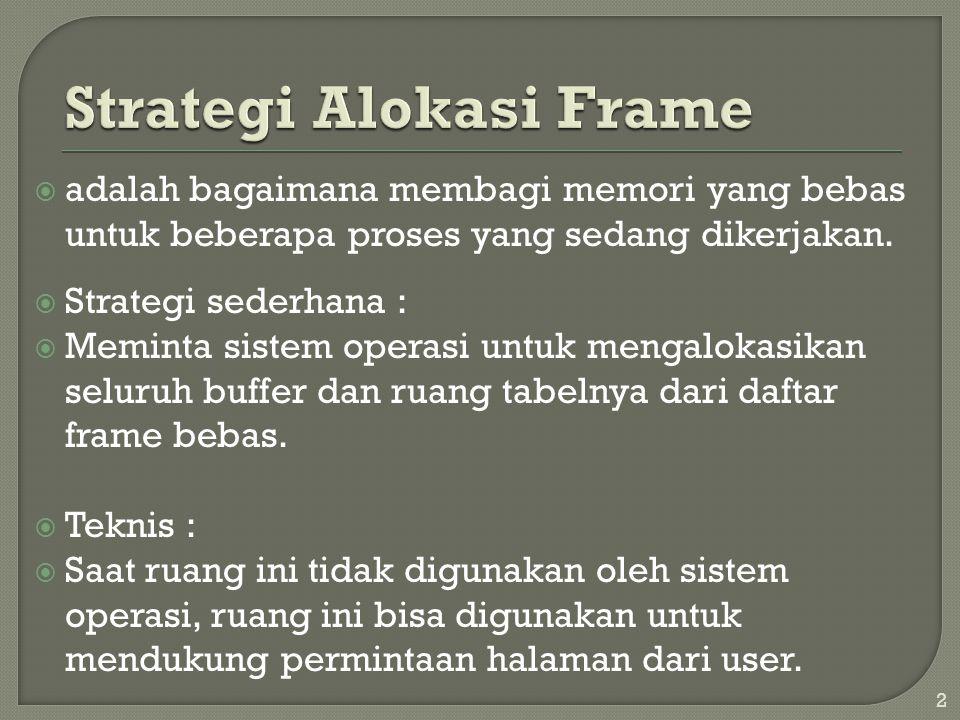  Strategi sederhana:  Menyimpan tiga frame bebas dari daftar frame bebas, sehingga ketika terjadi kesalahan halaman, ada frame bebas yang dapat digunakan untuk permintaan halaman.