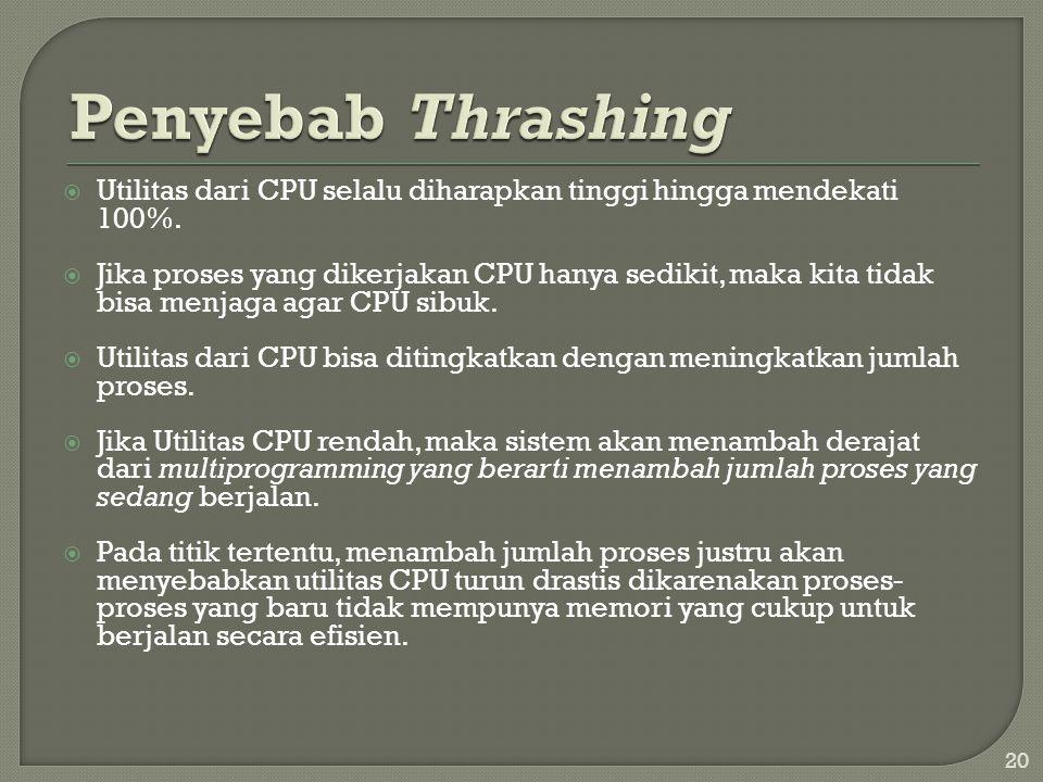  Utilitas dari CPU selalu diharapkan tinggi hingga mendekati 100%.  Jika proses yang dikerjakan CPU hanya sedikit, maka kita tidak bisa menjaga agar