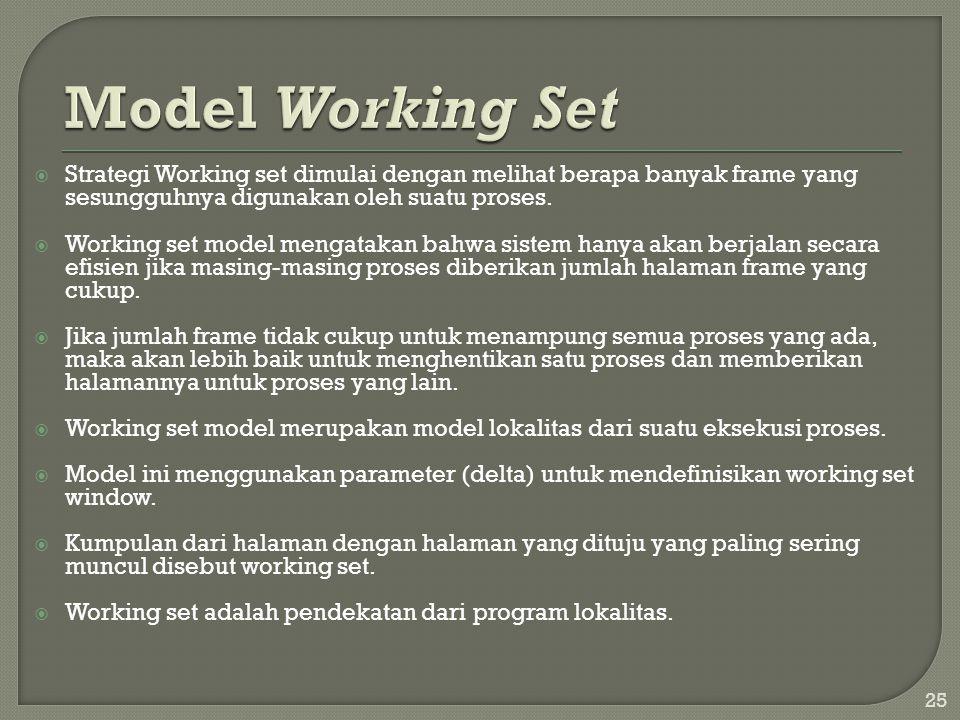  Strategi Working set dimulai dengan melihat berapa banyak frame yang sesungguhnya digunakan oleh suatu proses.  Working set model mengatakan bahwa