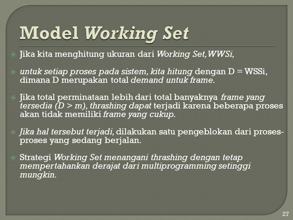  Jika kita menghitung ukuran dari Working Set, WWSi,  untuk setiap proses pada sistem, kita hitung dengan D = WSSi, dimana D merupakan total demand