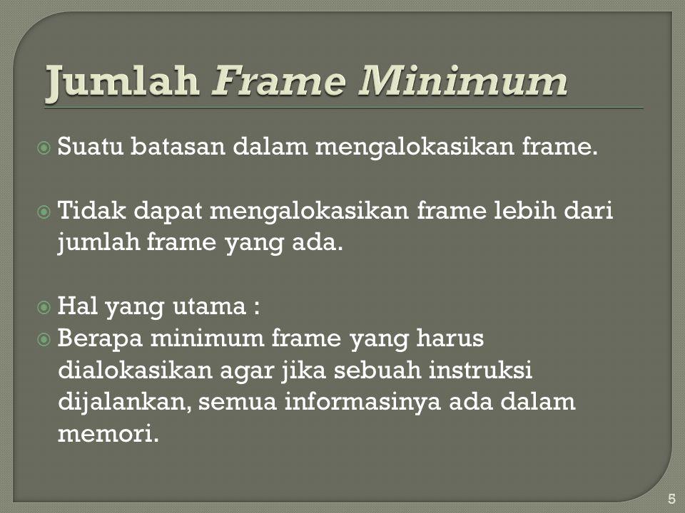  Suatu batasan dalam mengalokasikan frame.  Tidak dapat mengalokasikan frame lebih dari jumlah frame yang ada.  Hal yang utama :  Berapa minimum f