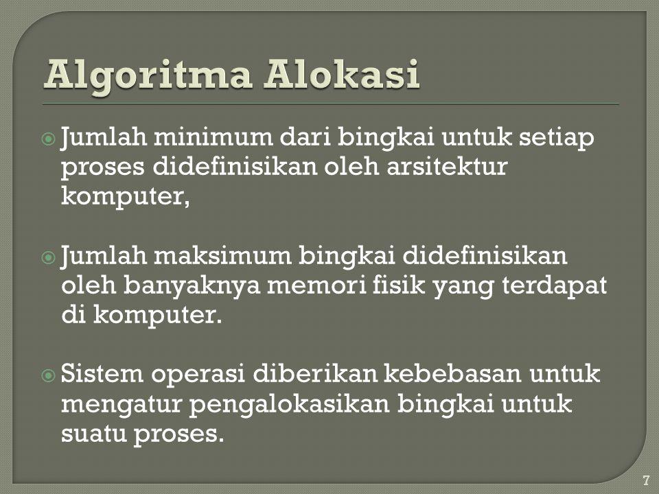  Algoritma Alokasi: • Equal allocation.• Proportional allocation.