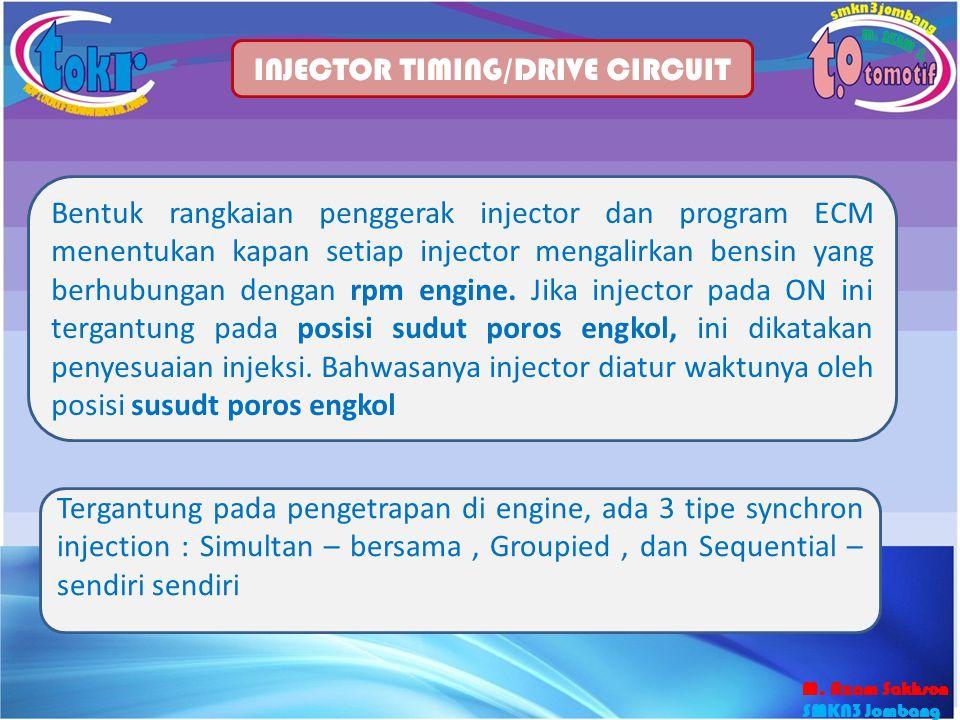 30 INJECTOR TIMING/DRIVE CIRCUIT Bentuk rangkaian penggerak injector dan program ECM menentukan kapan setiap injector mengalirkan bensin yang berhubun