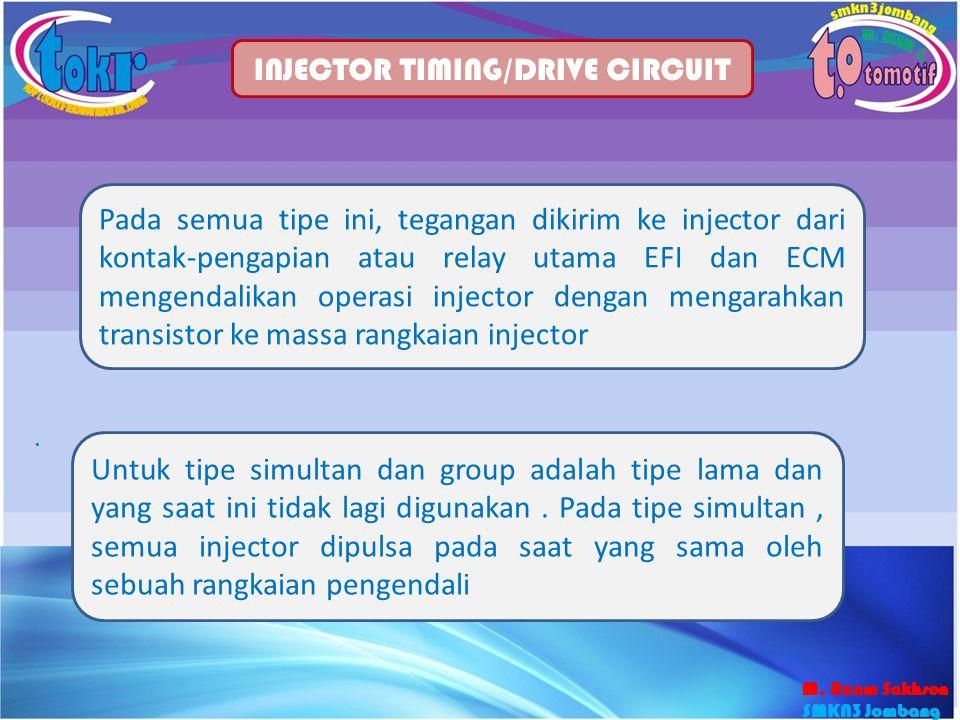 31 INJECTOR TIMING/DRIVE CIRCUIT Pada semua tipe ini, tegangan dikirim ke injector dari kontak-pengapian atau relay utama EFI dan ECM mengendalikan op