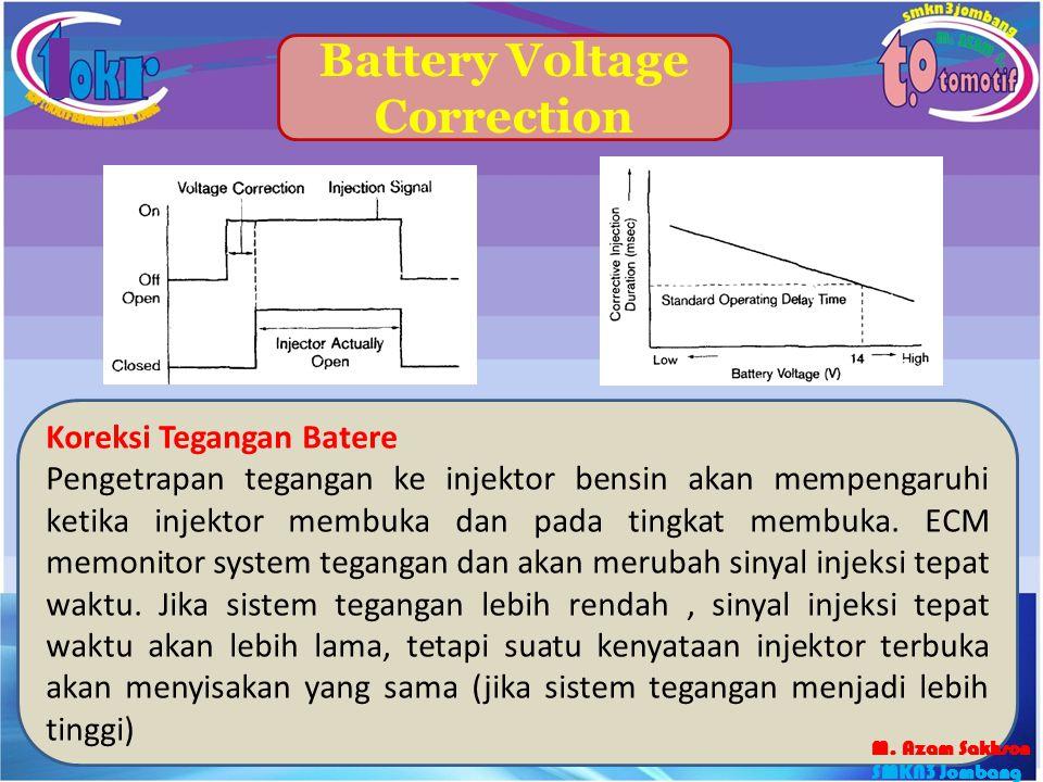 48 Battery Voltage Correction Koreksi Tegangan Batere Pengetrapan tegangan ke injektor bensin akan mempengaruhi ketika injektor membuka dan pada tingk