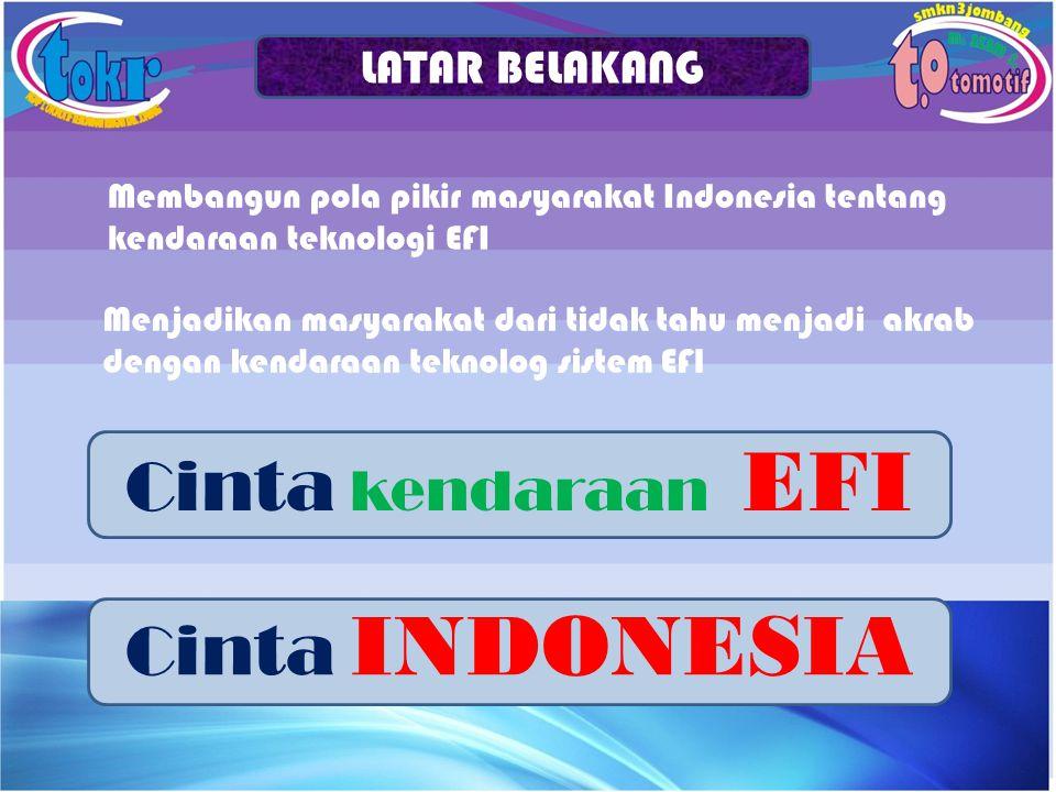 Membangun pola pikir masyarakat Indonesia tentang kendaraan teknologi EFI LATAR BELAKANG Menjadikan masyarakat dari tidak tahu menjadi akrab dengan ke