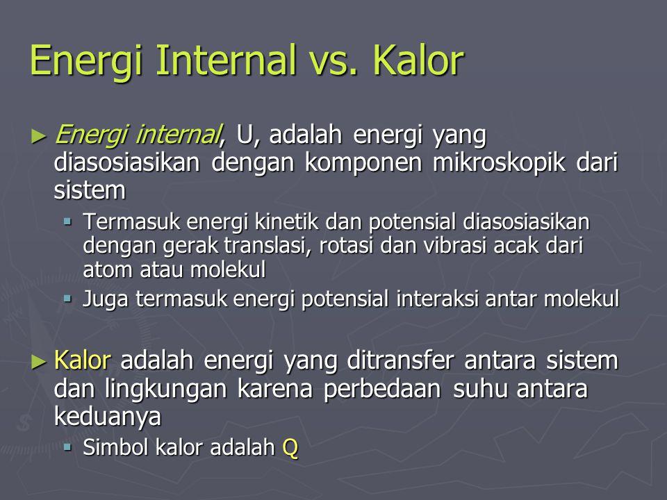 Energi Internal vs. Kalor ► Energi internal, U, adalah energi yang diasosiasikan dengan komponen mikroskopik dari sistem  Termasuk energi kinetik dan