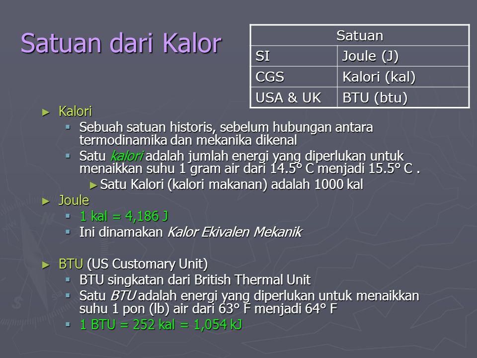 Satuan dari Kalor ► Kalori  Sebuah satuan historis, sebelum hubungan antara termodinamika dan mekanika dikenal  Satu kalori adalah jumlah energi yan