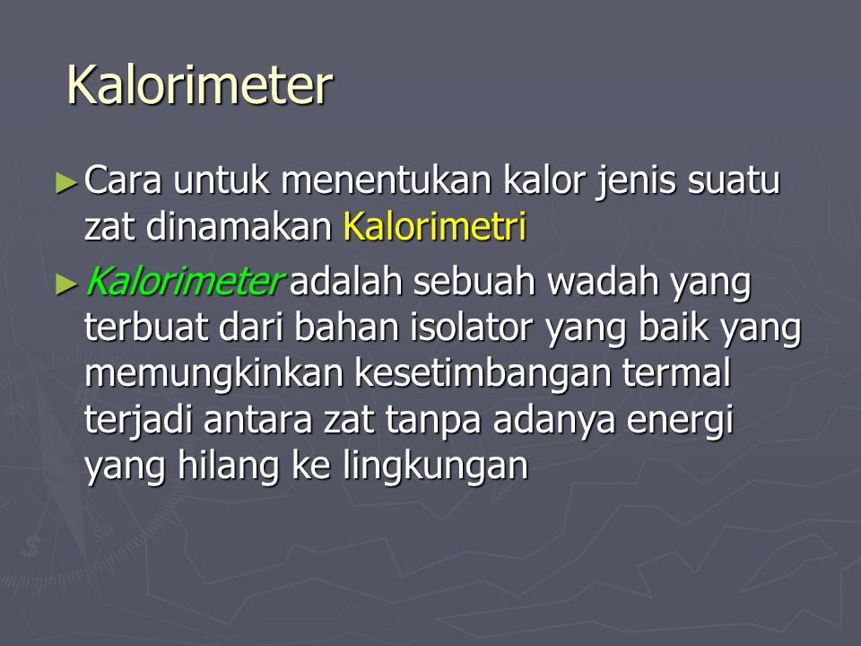 Kalorimeter ► Cara untuk menentukan kalor jenis suatu zat dinamakan Kalorimetri ► Kalorimeter adalah sebuah wadah yang terbuat dari bahan isolator yan