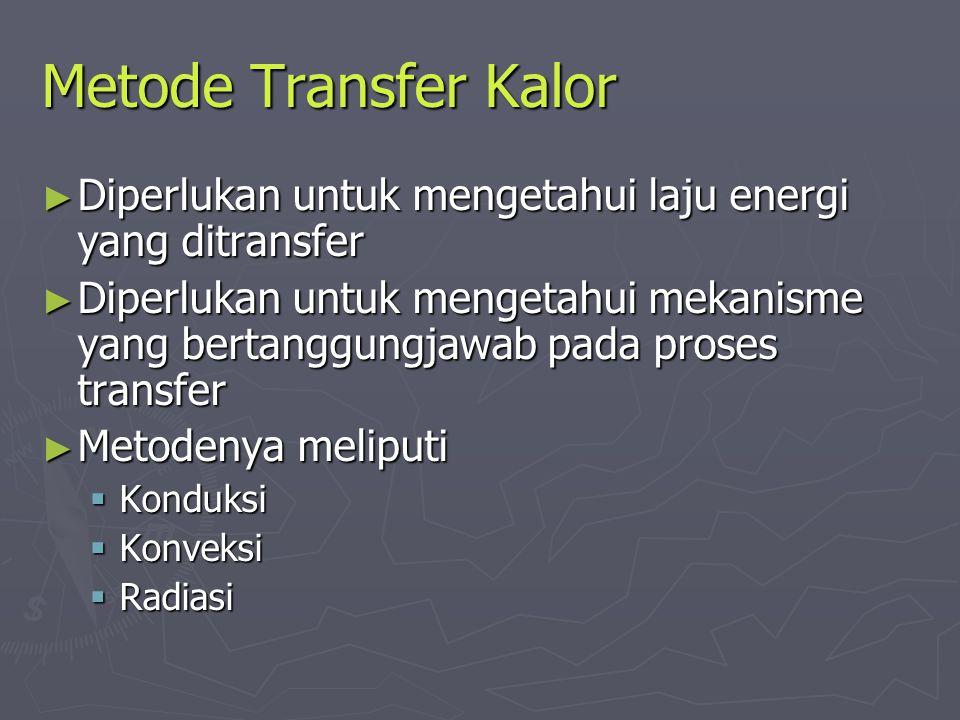 Metode Transfer Kalor ► Diperlukan untuk mengetahui laju energi yang ditransfer ► Diperlukan untuk mengetahui mekanisme yang bertanggungjawab pada pro