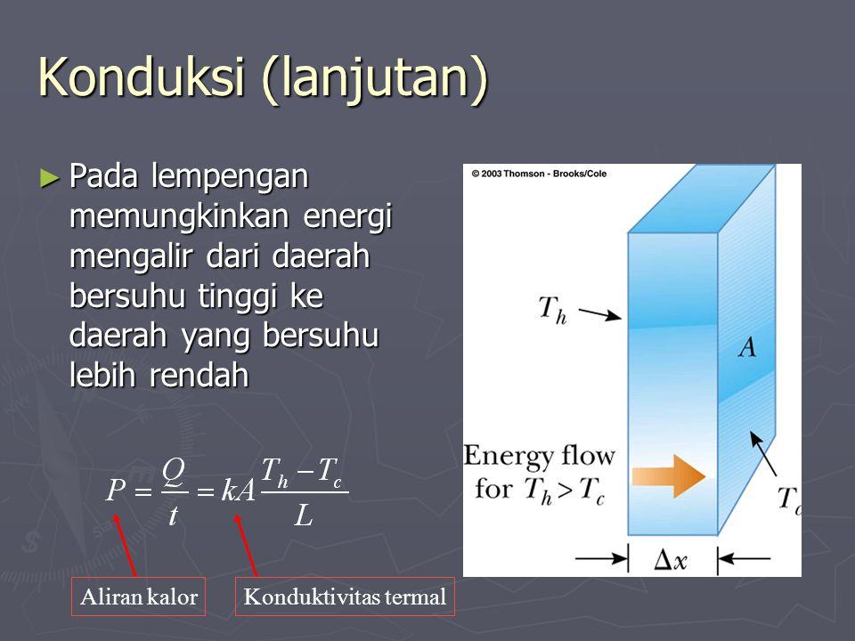 Konduksi (lanjutan) ► Pada lempengan memungkinkan energi mengalir dari daerah bersuhu tinggi ke daerah yang bersuhu lebih rendah Aliran kalorKonduktiv