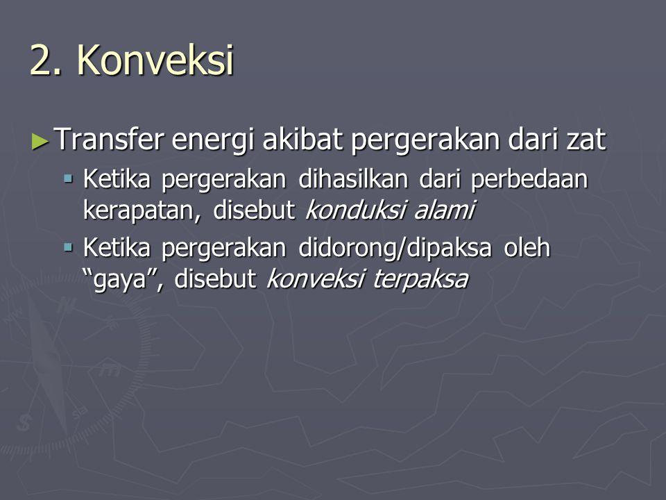 2. Konveksi ► Transfer energi akibat pergerakan dari zat  Ketika pergerakan dihasilkan dari perbedaan kerapatan, disebut konduksi alami  Ketika perg