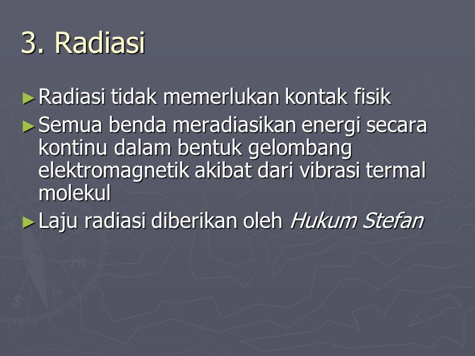 3. Radiasi ► Radiasi tidak memerlukan kontak fisik ► Semua benda meradiasikan energi secara kontinu dalam bentuk gelombang elektromagnetik akibat dari