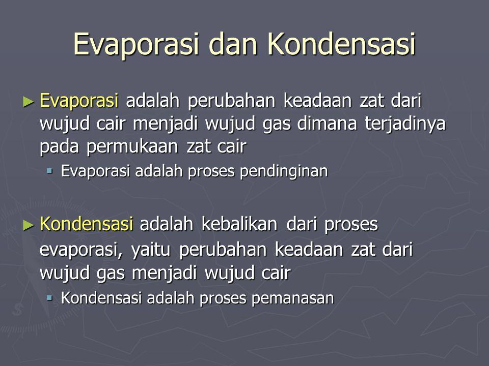 Evaporasi dan Kondensasi ► Evaporasi adalah perubahan keadaan zat dari wujud cair menjadi wujud gas dimana terjadinya pada permukaan zat cair  Evapor