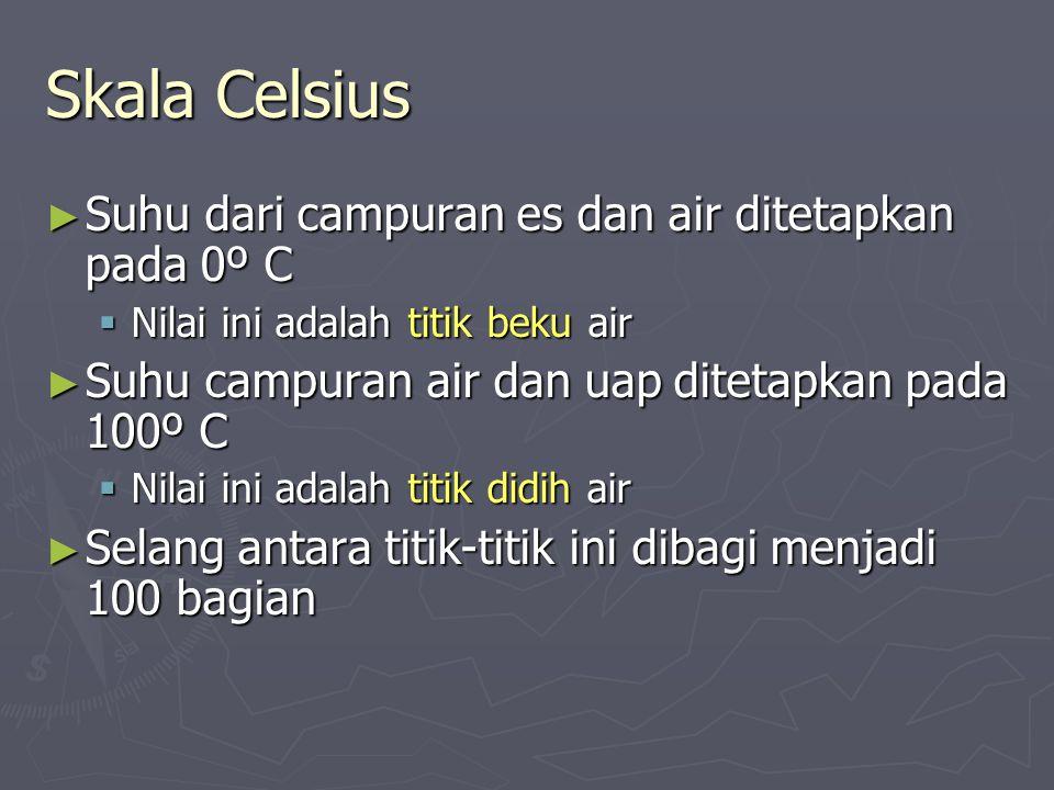 Skala Celsius ► Suhu dari campuran es dan air ditetapkan pada 0º C  Nilai ini adalah titik beku air ► Suhu campuran air dan uap ditetapkan pada 100º