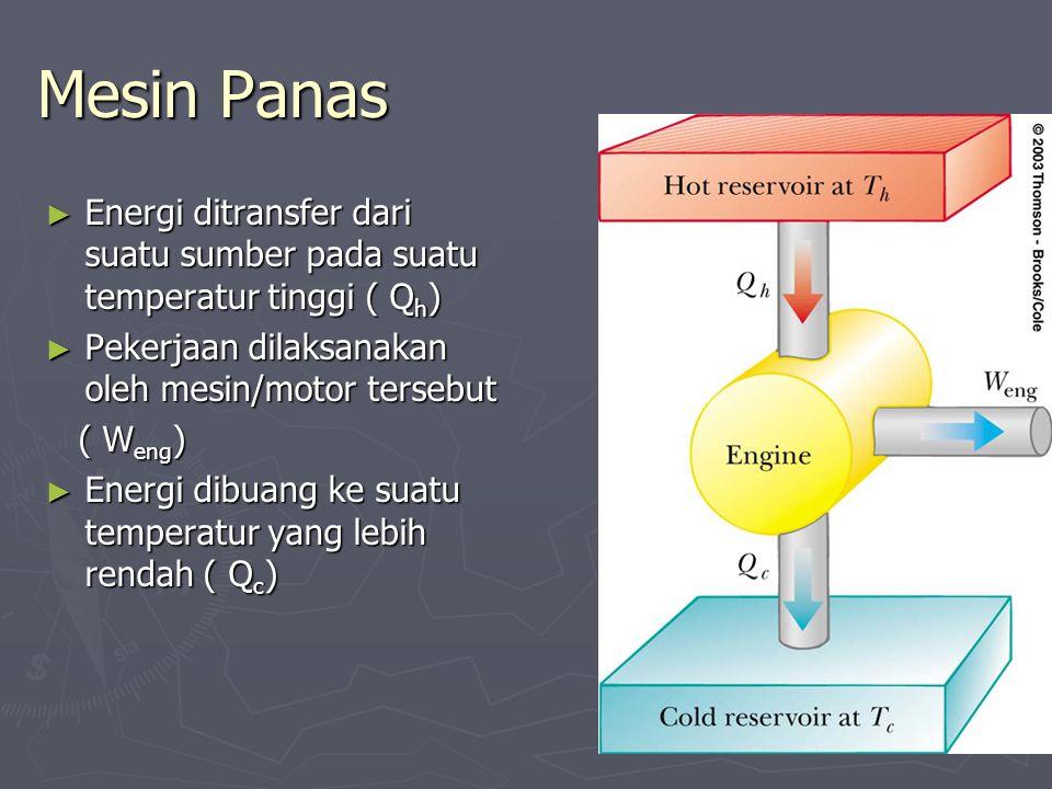 Mesin Panas ► Energi ditransfer dari suatu sumber pada suatu temperatur tinggi ( Q h ) ► Pekerjaan dilaksanakan oleh mesin/motor tersebut ( W eng ) (