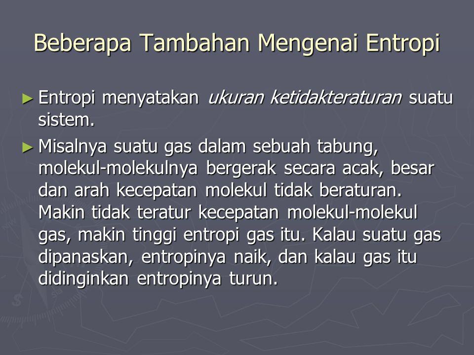 Beberapa Tambahan Mengenai Entropi ► Entropi menyatakan ukuran ketidakteraturan suatu sistem. ► Misalnya suatu gas dalam sebuah tabung, molekul-moleku