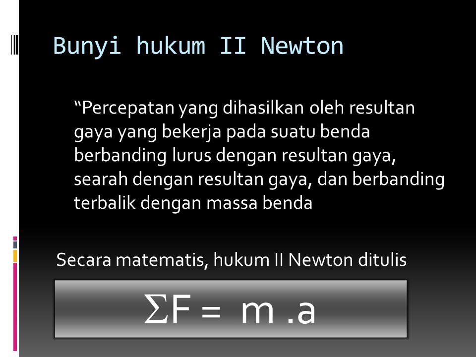 """Bunyi hukum II Newton """"Percepatan yang dihasilkan oleh resultan gaya yang bekerja pada suatu benda berbanding lurus dengan resultan gaya, searah denga"""